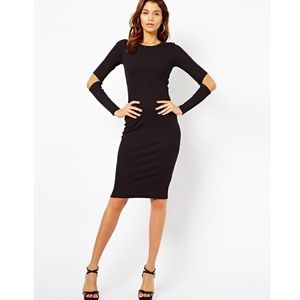 ASOS ribbed midi body-con dress with cold elbows